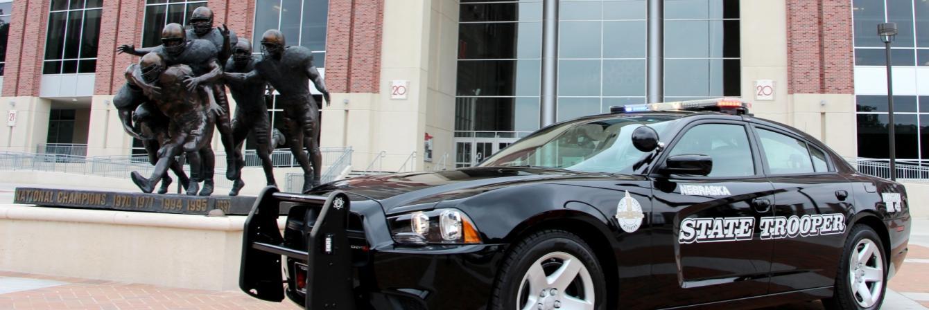 patrol car in front of memorial stadium