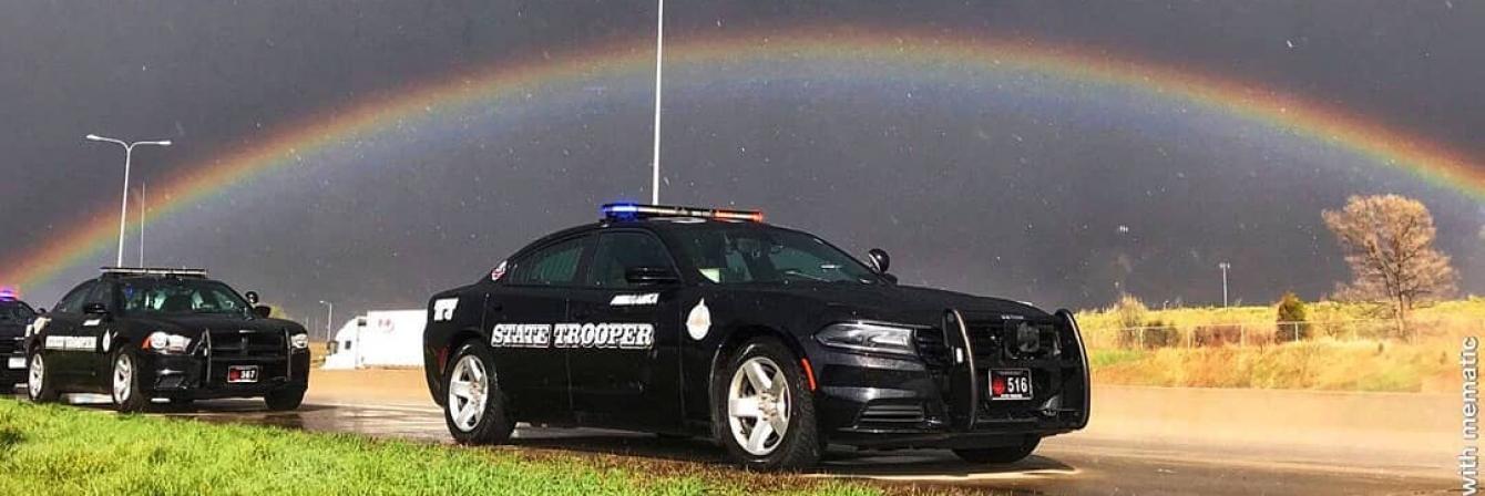 Cruiser Under Rainbow