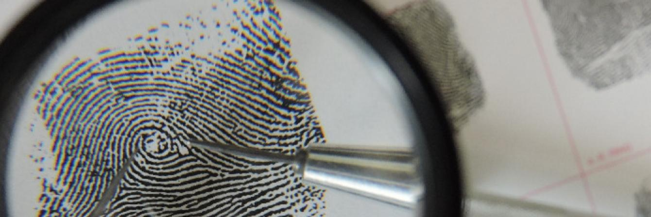 examining fingerprints under magnifying glass