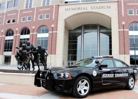 patrol car in front of memorial stadium