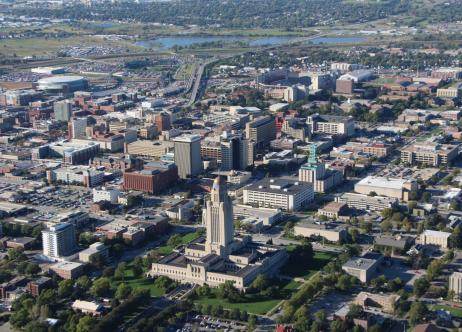 bird's eye view of the city of Lincoln, NE