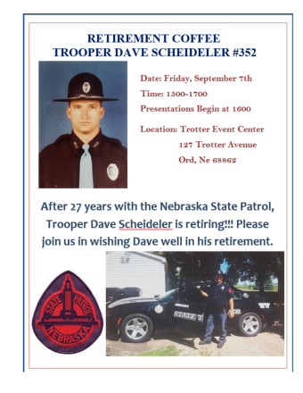 flyer for retirement event for trooper dave scheideler