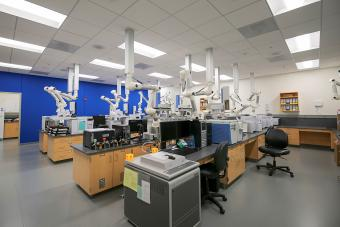 crime lab with computers and tech equipment