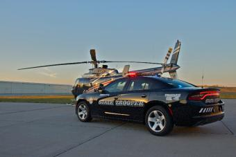 nebraska state patrol helicopter and car